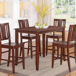 """East West Furniture - 5 Pc Buckland Counter Height Table and 4 Stools with Wood Seat - 5 -Piece Buckland Counter Height Table 30""""X48"""" & 4 Stools with Wood Seat In Mahogany Finish; This Buckland dinette set is the perfect addition to any modern home with its rectangular shape and alluring Mahogany finish.; The counter height table comfortably seats four people and offers plenty of leg room underneath.; Transition edges on the tabletop offer a touch of class to this modern Buckland counter height dining set.; Black bean faux leather seats coordinate well with the wood finish and provide padded surfaces to rest while dining.; Montrose-style dining chairs are counter height, and the lanky design of this Buckland dinette set gives the entire kitchen more dimension.; Weight: 136 lbs; Dimensions: Table: 48""""L x 30""""W x 36""""H; Chair: 18""""L x 17""""W x 42""""H"""