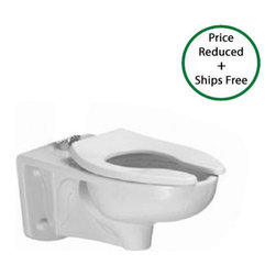 """American Standard - American Standard 3354.001.020 White Afwall Afwall FloWise Elongated - Afwall FloWise Elongated 1.28GPF with EverClean with Back Spud  Elongated wall-mounted flushometer valve toilet, less seat High Efficiency, Low Consumption operates in the range of 1.1gpf to 1.6gpf (4.2Lpf to 6.0Lpf) EverClean  Surface inhibits the growth of stain and odor causing bacteria, mold and mildew on the surface Condensation channel Powerful direct-fed siphon jet action Fully glazed 2-1/8"""" trapway 10"""" x 12"""" water surface area 1-1/2"""" inlet spud Nominal Dimensions: 26"""" x 15"""" x 14"""" (660 x 381 x 356mm) Recommended working pressure-- between 25 psi at valve when flushing and 80 psi static System MaP Score: 1,000 grams of miso @ 1.6 gpf or 1.28 gpf when used with an American Standard flush valve Maximum Performance (MaP) testing performed by IAPMO R&T Lab. MaP Report conducted by Veritec Consulting, Inc. and Koeller and Company."""