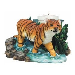 WL - 3.5 Inch Orange and Brown Striped Sneaking Tiger on Rock Votive - This gorgeous 3.5 Inch Orange and Brown Striped Sneaking Tiger on Rock Votive has the finest details and highest quality you will find anywhere! 3.5 Inch Orange and Brown Striped Sneaking Tiger on Rock Votive is truly remarkable.