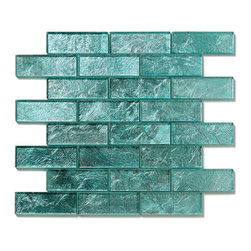 Glass Tile Oasis - Juniper Uniform Brick Blue Folia Brick Glossy Glass - Folia patterned-glass mosaics offer a unique appearance unachievable with conventional tiles. The vibrancy and depth of color combined with the reflective quality of glass results in a unique and dramatic effect that is borderline out-of-this-world! They are easy to clean and maintain. They will continue to provide a dazzling appearance for many years to come