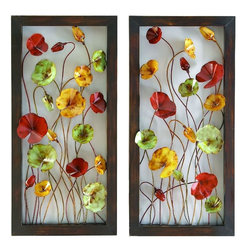 Benzara - Metal Wall Plaque - Set of 2 - METAL WALL PLAOUE 2 ASST a set of two is an excellent anytime low priced wall decor upgrade option that is high in modern age decor fashion. It comes as set of two plaques designed with flower theme.