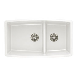 Blanco - Blanco Performa Silgranit II 1.75 Medium Double Bowl, White (441310) - Blanco 441310 Performa Silgranit II 1.75 Medium Double Bowl, White