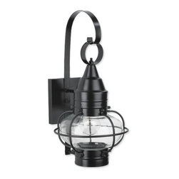 Norwell Lighting - Norwell Lighting 1513-BL-CL Black with Clear Glass Classic Onion - Traditional / Classic 1 Light Outdoor Wall Sconce from the Classic Onion CollectionThe classic onion lantern, as redefined by Norwell, is the quintessential early American lantern. NorwellÂ's Vidalia features a heavy gauge brass and a thick glass protective frame that is proudly manufactured at our U.S. facility. It is the finest Onion available.Features:Utilizes (1) Incandescent 100 Watt Edison Base BulbProduct Dimensions: 9 W X 16 HMaterial: BrassUL Listed : WetAbout Norwell Lighting:For over a half Century, Norwell Lighting and Accessories has been proud of its reputation for producing high quality solid brass interior and exterior lighting. They continue to build on their history by creating unique lighting designs to complement the interior of your home as well as grace your landscape and exterior architecture. With years of experience in the residential lighting industry, they offer a diversity of products ranging from historic reproductions to clean, contemporary designs to accommodate the diverse taste of the discriminating consumer.