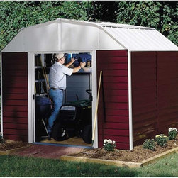 Arrow Shed - Arrow Shed Red Barn 10 x 8 ft. Shed - RH108 - Shop for Sheds and Storage from Hayneedle.com! You don't need to go all the way out to the countryside to experience the bucolic beauty of a farm; with a healthy yard and an Arrow Shed Red Barn 10 x 8 ft. Shed you can have that right in town. On a properly run farm everything must have a function and this handy shed is as useful as it is charming. Perfect for everything from tools to kids' toys or even a riding lawn mower this roomy storage shed offers you a perfect place to organize all those outdoor miscellanea that tend to otherwise clutter up living spaces like your yard basement or garage. The gambrel-style roof design doesn't just complete the farm fantasy; it also avoids rainwater pooling up top and affords you ample extra head room when grabbing your implements or actually working inside the shed. With easy-sliding doors that can be padlocked this shed keeps your items safe and sound. Made in the United States this shed is constructed with electro-galvanized steel making it affordable durable and attractive. With numbered and predrilled parts this shed can be assembled quickly and easily as a weekend project with basic DIY skills.Additional Features:Exterior Dimensions: 123.25W x 95.25D x 97.13H inchesInterior Dimensions: 118.25W x 90D x 95.88H inchesDoor Dimensions: 55.5W x 59.25H inchesAbout Arrow Storage ProductsEstablished in 1962 as Arrow Group Industries Arrow Storage Products is now the worldwide leader in designing manufacturing and distributing steel storage sheds that are easily assembled from a kit. Arrow Storage Products hasn't garnered its 13 million customers by resting on its laurels either. The company takes great pride in having listened to their customers over the years to develop quality products that meet people's storage needs. From athletic equipment to holiday decorations from tools to recreational vehicles Arrow Storage Products prides itself on providing quality USA-built structures that offer storage solutions. Available in a wide variety of sizes models finishes and colors - Arrow's products are constructed with electro-galvanized steel to be more affordable durable attractive and easy to assemble.