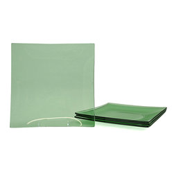 Tango - Jewel Green Tempered Glass Dinner Plate/Charger Set - Serve your guests in elegant style with this set of green glass dinner plates. Featuring a gently curved square design, these beautiful plates offer a classic touch thats fashionable enough for formal use yet durable enough for daily use.