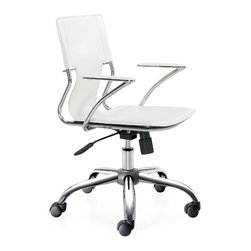 Zuo Modern - Height Adjustable Traffico Leatherette Office - This Mobile Office Chair with White Seat & Chrome Frame display attractive contemporary styling while providing exceptional comfort and support.  Each chair features a washable PVC seat & back complemented by a polished chrome plated steel frame and rolling base.  Simplify the job of office furnishing or refurbishing with this Portable White Office Chair!  Each stylish and supportive chair features a White washable PVC seat & back combined with a chrome plated steel frame and rolling base. * Adjustable Height. Chrome Plated Steel Frame, Base, and Arms. Washable PVC Leatherette Seat and Back. PU Rolling Casters . Does not tilt. 34-39 in. H x 22 in. W x 25 in. L. Seat: 18-23 in. H