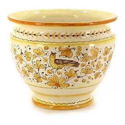 Artistica - Hand Made in Italy - ARABESCO GIALLO: Luxury Cachepot/Planter LG - ARABESCO GIALLO Collection