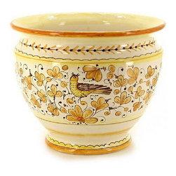 Artistica - Hand Made in Italy - Arabesco Giallo: Luxury Cachepot/Planter Large - Arabesco Giallo Collection