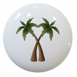 Carolina Hardware and Decor, LLC - Coconut Palm Trees Ceramic Knob - 1 1/2 inch white ceramic knob with one inch mounting hardware included.   Great as a cabinet, drawer, or furniture knob.  Adds a nice finishing touch to any room!