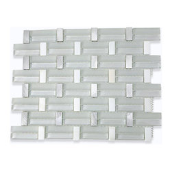 "Trestle Super White Mosaic Tile - TRESTLE SUPER WHITE TILE Whether using this stunning tile as a backsplash, wall, or as an accent piece, the polished and frosted white glass, white thassos and stainless steel will bring a modern and contemporary ambience to the room. Add a pop to any room with these beautiful tiles that are versatile; great to use for a backsplash. Chip Size: 0.59"" x 1.25""/2.51"" Color: Super White, White and Stainless Steel Material: Glass, Thassos and Steel Finish: Polished and Matte Sold by the Sheet - each sheet measures 14"" x 11"" (1.07 sq. ft.) Thickness: 8mm"