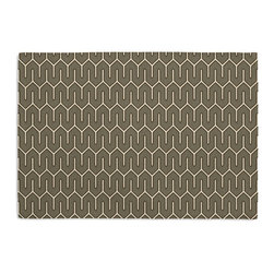 Taupe Geometric Custom Placemat Set - Is your table looking sad and lonely? Give it a boost with at set of Simple Placemats. Customizable in hundreds of fabrics, you're sure to find the perfect set for daily dining or that fancy shindig. We love it in this modern maze of taupe & white on soft cotton sateen.