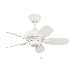 "BUILDER FANS - BUILDER FANS 300103SNW Canfield 30""  Outdoor / Indoor Transitional Ceiling Fan - From the Canfield Collection, this Kichler Lighting indoor/outdoor ceiling fan comes in a clean satin natural white for a casual look that will effortlessly blend into a variety of home decor styles."