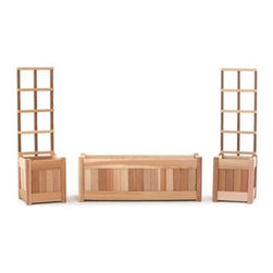 All Things Cedar Western Red Cedar Wood 3-Piece Planter with Trellis - Frame yourself in flowers with this 3-Piece Planter with Trellis set with plenty of room for potted beauties and two trellises to coax hanging vines high. Made of sun-friendly Western red cedar hardwood sanded silky smooth. Wide centerpiece potting box is flanked by two matching square boxes with tall trellises to frame a perfect garden. All edges are routed smooth to a soft elegant corner. Handcrafted quality using hardwood dowels means tight fitting joints and years of beauty as the unstained wood ages with elegant grace.About Cedar WoodCedar wood is lightweight and resistant to both cracking and moisture rot. The oils of this resilient wood guard against insect attack and decay and their distinctive aroma acts as a mild insect repellant. Cedar is a dependable choice for outdoor furniture either as a finished or unfinished wood. Over time unfinished cedar left outdoors will weather to a silvery gray patina. This natural process does not compromise the strength or integrity of the wood.Another great aspect of cedar is its environmental effect - which is minimal. A renewable resource cedar wood emits low greenhouse gases. So rest assured knowing that your beautiful cedar furniture is a green choice too!About All Things CedarA world leader in fine patio furniture garden furniture and other accessories All Things Cedar is a smart choice for your outdoor needs. They offer an extensive line of unique items made from high-quality weather-resistant woods including clear-grade cedar teak and more. Their items are designed with care in timeless fashions that are sure to enhance your space. All Things Cedar prides themselves on fine customer service and dependable products.