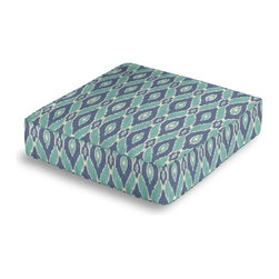 Blue and Aqua Handwoven Ikat Box Floor Pillow - Extra seating that is so good looking you won't want to store it away.  Our Box Floor Pillow is perfect for your next coffee table dinner party, fire place snuggle session, or playroom sleepover.  We love it in this blue & turquoise handwoven diamond ikat.  an artisan classic straight from india to your home.