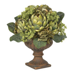 Artichoke Centerpiece Silk Flower Arrangement - This stunning Artichoke centerpiece is one of the most fascinating table accents available. it's the wondrous array of shapes and textures which makes the Artichoke one of nature's most interesting plants, and they are perfectly captured in this centerpiece. Skillfully crafted from the finest materials, the meticulous attention to detail is instantly recognizable as the lush greenery bursts forth from the ornate planter, adding a touch of elegance to any setting. Height= 14 in x Width= 13 in x Depth= 12 in