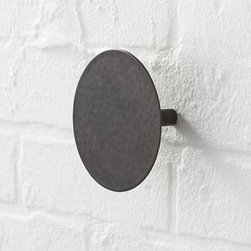 Disc Metal Hook - This is one hip hook. Designed exclusively for us, utilitarian-chic hook is handcrafted of steel with a warm, antiqued bronze finish. Durable construction and a distinctive round profile add a stylish, convenient place to hang your robe, towel, outerwear, dog leash and other gear within easy reach.