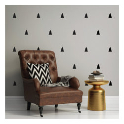 WallsNeedLove - Wall Decal Mini-Pack - Pine Trees - These little Pine Tree decals add a touch of class and warmth to any space. They would be a perfect addition to your holiday decorations, but could also be used for a ton of other ways. We love the idea of these trees tiled on a nursery wall or as an accent in a living room or study. Choose from our 40 vinyl colors to really customize them in your space.