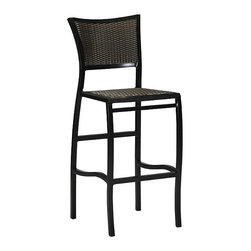 Frontgate - Aire Outdoor Bar Stool with Cushion, Patio Furniture - Durable bar stool frame is crafted from hand-welded aluminum. Finished in Black Walnut and Ancient Earth combination. Chair seat and back are crafted with UV-resistant high-quality resin wicker for a comfortable woven look and feel. high-quality Resin Wicker seat is comfortable with or without cushions. Cushion is covered in exclusive Sunbrella&reg fabrics, the finest solution-dyed, all-weather material available. The Aire Collection by Summer Classics&reg offers lightweight elegance with a classic and casual style made for your outdoor setting. Fluid curves define each piece, from the frame of each seat back down each strong and slender leg. Bar stool is furnished with a contoured seat and back that are hand woven with high-quality resin wicker that conforms to your body.Part of the Aire Collection by Summer Classics&reg . . . . . Note: Due to the custom-made nature of the cushions, any fabric changes or cancellations made to the Aire Collection must be made within 24 hours of ordering.