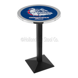 Holland Bar Stool - Holland Bar Stool L217 - Black Wrinkle Gonzaga Pub Table - L217 - Black Wrinkle Gonzaga Pub Table belongs to College Collection by Holland Bar Stool Made for the ultimate sports fan, impress your buddies with this knockout from Holland Bar Stool. This L217 Gonzaga table with square base provides a commercial quality piece to for your Man Cave. You can't find a higher quality logo table on the market. The plating grade steel used to build the frame ensures it will withstand the abuse of the rowdiest of friends for years to come. The structure is powder-coated black wrinkle to ensure a rich, sleek, long lasting finish. If you're finishing your bar or game room, do it right with a table from Holland Bar Stool. Pub Table (1)