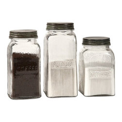 """IMAX CORPORATION - Dyer Glass Canisters - Set of 3 - Dyer Glass Canisters. Set of 3 canisters in varying sizes measuring approximately 7.25-8.25-9.25""""H x 4""""W x 4"""" each. Shop home furnishings, decor, and accessories from Posh Urban Furnishings. Beautiful, stylish furniture and decor that will brighten your home instantly. Shop modern, traditional, vintage, and world designs."""