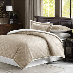 None - Premier Comfort Lowell Double Diamond Mink Reverse to Berber Comforter Mini Set - The double diamond quilted design on the Lowell comforter set adds style to your bedroom. Made with a mink face,this comforter is soft to the touch and reverses to a natural berber for superior warmth and comfort.