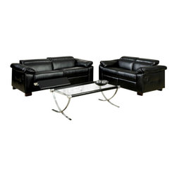 """Acme - Darcel Collection Modern Styling Black Bonded Leather Sofa and Love Seat Set - Darcel collection modern styling black bonded leather sofa and love seat set with recliners and adjustable headrests. This set features a black bonded leather upholstery with overstuffed arms and a recliner on each side of the sofa and love seat with adjustable headrest on the backs. Sofa measures 80"""" x 37""""D x 30""""H. love seat measures 64"""" x 37""""D x 30""""H. Some assembly may be required."""