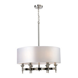 Elk Lighting - ELK Lighting  Pembroke 6-Light Chandelier - Unique In Form, The Pembroke Collection Features A Concave Arm Design For A Distinct Appearance. Light Silver Drum Shades And A Polished Nickel Finish Add To The Ambiance.