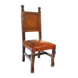 New World Trading - Spanish Heritage Armless Leather Dining Chair (Antique Brown) - Finish: Antique Brown. Hand tooled leather seat and back. With nailheads pattern. Pictured in Rustic. 20 in. L x 20 in. W x 44 in. H (25 lbs.)