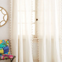 Pom Tassel Curtain, Cream - These light and airy curtains are perfect for letting the morning sunshine into your bedroom. To me, there isn't a more enjoyable way to wake up.