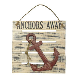 "Handcrafted Model Ships - Wooden Anchors Away Wall Plaque 20"" - Nautical Decor - Immerse yourself in the warm ambiance of the beach, imagining golden sands between your toes as you listen to the gentle sound of the surf, while you enjoy Handcrafted Nautical Decor's fabulous Beach Signs. Perfect for welcoming friends and family, or to advertise a festive party at your beach house, bar, or restaurant, this Wooden Anchors Away Wall Plaque 20"" will brighten your life. Place this beach sign up wherever you may choose, and enjoy its wonderful style and the delightful beach atmosphere it brings."