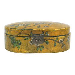 Madera Home - Yellow Floral Decorative Box - These hand-painted boxes are good to store any small items. From jewelry to loose pocket change, these small boxes can hold a lot. Each one is an antique jewelery box, ranging in age from 60 to 80 years old, that has been given new life. Each is uniquely painted in a different color and with a different scene. Bring some of China's rich history to your home.