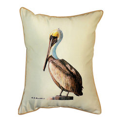 Betsy Drake - Betsy Drake Pelican Pillow- Indoor/Outdoor - Pelican Pillow- Large indoor/outdoor pillow. These versatile pillows are equal at enhancing your homes seaside decor and adding coastal charm to an outdoor setting arrangment. They feature printed outdoor, fade resistant fabric for years of wear and enjoyment. Solid back, polyfill. Proudly made in the USA.