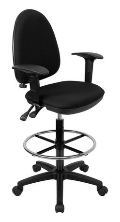 Flash Furniture - Flash Furniture Mid-Back Black Fabric Multi-Functional Drafting Stool with Arms - Articulating the sophistication of European styling, along with the functionality of a multi-positional chair, this drafting stool from Flash Furniture is sure to please. Employing a unique adjustable lumbar support system, customizable to the specifications of almost anyone, the user can be assured of a comfortable experience not usually found in most economic drafting stools or even computer chairs. This comfort level is attained simply by supporting the natural curvature of the user's spine near the small of the back - right at the point where most people experience lower back pain. Featuring, in addition to the adjustable lumbar support, a standard seat height adjustment, asynchronous locking back angle adjustment mechanism and a drafting kit with foot ring, we are certain that this drafting chair will be the perfect fit.