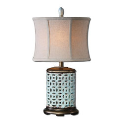 Pierced Blue Ceramic Table Lamp - *Pierced ceramic finished in a crackled aged blue glaze with rust distressing and burnished silver champagne details.
