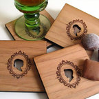 Wood Coasters, Cameo Silhouettes by Pepper Sprouts - Most wooden coasters I see are round and shaped like tree trunks. I like these because they are different and have a slight vintage flair.