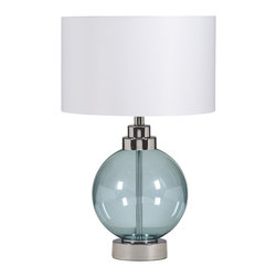 "Signature Design by Ashley - 24.5"" Reece Set of 2  Table Lamps Blue - Famous Maker Lamps presents the Set of 2 1-Light Reece Table Lamps, featured in Chrome finish with Caribbean Blue Glass and complemented by a White Drum Shade, creating a harmonious and captivating ambiance in the home"