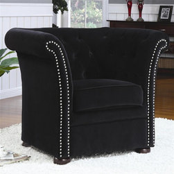 Coaster - Accent High Back Chair (Black) - Choose Upholstery: BlackContemporary style. Upholstered with a plush fabric. Round wood feet. High rolled track arms with nail head trim. Attached button-tufted high back. Thick boxed seat cushion with welt cord trim. Seat depth: 19 in.. Overall: 38 in. W x 32 in. D x 32 in. H. WarrantyDesigned with an elegant high back, this unique accent chair will be the focal point of any room in your home. This chair is gentle to the eye and to the touch, offering a look and feel that you will be just dying to sink into. Gracefully curved and charmingly detailed.