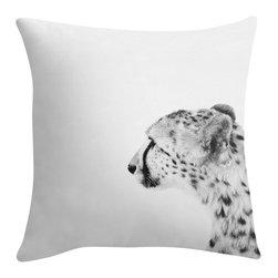 Cheetah Pillow in Black and White, 16x16 - My original fine art cheetah photograph on a 16x16 inch decorative pillow. Black, and white fine art photograph on a throw pillow cover.