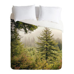 DENY Designs - Catherine McDonald Into The Mist Duvet Cover - Turn your basic, boring down comforter into the super stylish focal point of your bedroom. Our Luxe Duvet is made from a heavy-weight luxurious woven polyester with a 50% cotton/50% polyester cream bottom. It also includes a hidden zipper with interior corner ties to secure your comforter. it's comfy, fade-resistant, and custom printed for each and every customer.