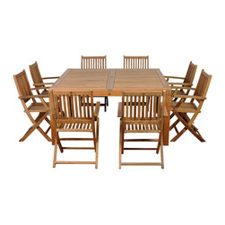 International Home Miami - Amazonia Teak Dubai 9-Piece Teak Square Dining Set - Great Quality, elegant design patio set, made of 100% high quality teak wood. Enjoy your patio with style with these great sets from our Amazonia Teak outdoor collection