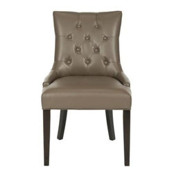 Safavieh - Ashley Kd Side Chairs (Set Of 2) - Clay - Its a Deco darling. The Ashley KD Side Chairs bring chic, modern style to the dining room. Their lush bicast leather upholstery in clay colored highlights its curvaceous figure while its sleek birch wood legs with espresso finish add just the right amount of Park Avenue style.