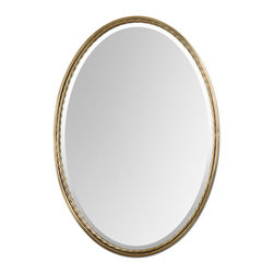Uttermost - Casalina Brass Oval Mirror - Plated, brushed brass finish with twisted metal rope detail. Mirror is beveled.