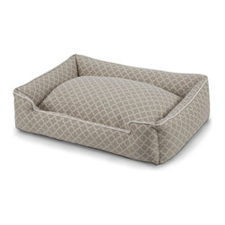 Vienna Pet Lounge - 32x27 - A delicate tile pattern in a gentle taupe makes the Vienna Pet Lounge easy to pair with such transitional style points as rubbed woods, natural linen, and neutral walls, while the upholstery-weight cloth provides a subtly plush texture to your home.  This pet bed, trimmed in light piping, provides a deep cushion for your pet's comfort and a washable cover for your own convenience.