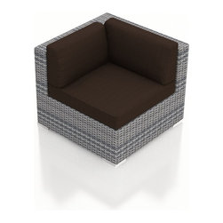 Harmonia Living - Urbana Outdoor Modern Corner Chair, Weathered Stone Wicker, Coffee Cushions - The Urbana Outdoor Wicker Corner Chair with Brown Sunbrella cushions (SKU HL-URBN-CS-CO) will lend a modern, relaxing touch to your outdoor space, turning it into a hub for entertaining and unwinding outside. The seat includes comfortable, fast-drying cushions covered in Sunbrella fabric, the industry leader in mildew- and fade-resistant outdoor fabrics. Each strand of the piece�s High-Density Polyethylene (HDPE) wicker is infused with a Weathered Stone color and UV protection, giving it long-lasting color despite the elements. The seat is reinforced, protecting the wicker from stretching and tearing with repeated use. Each piece also features a thick-gauged aluminum frame that is corrosion resistant, giving this piece fantastic structural integrity. Underneath the piece are plastic glides, allowing you to conveniently rearrange the set freely without worrying about scuffing your patio or deck.