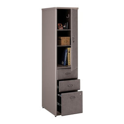 Bush Business - Assembled Vertical File Cabinet in Pewter Fin - Always have access to important documents as well as office supplies and personal space.  Vertical cabinets are stylish with a pewter finish and system arrives assembled for quick arrangement.  They create many options for a productive work environment when paired with laterals and verticals. * Two box and one letter-size file drawer in bottom half of unit. One adjustable/removable shelf and coat hook in top storage area. Levelers adjust for stability on uneven floor. Non-handed door mounts on left or right side. PVC edge banding resists bumps and collisions. Fully assembled case goods. 16.102 in. W x 20.236 in. D x 66.299 in. H