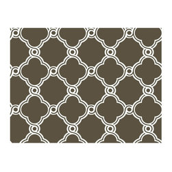 York - Ap7488 Open Trellis Diamond Wallpaper - AP7488 Open Trellis from Silhouettes by Ashford House is a brown wallpaper with a cream ornate clover shaped trellis pattern.
