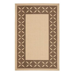 """Martha Stewart Living - Martha Stewart Indoor/Outdoor Area Rug: Mallorca Border Cream/Chocolate 5' 3"""" x - Shop for Flooring at The Home Depot. Inspired by traditional ceramic tiles hand-painted on the Spanish island of Mallorca, this two-color rug is designed to work equally well in indoor and outdoor spaces. Mallorca Border is machine-woven in Turkey of 100-percent enhanced polypropylene for UV protection and mildew- and mold-resistance."""