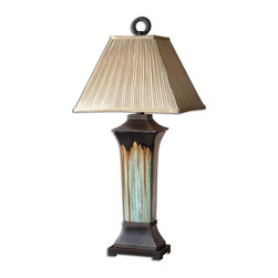 Uttermost - Uttermost Olinda Table Lamp in Light Green And Metallic Brown Porcelain - Shown in picture: Light Green And Metallic Brown Porcelain Body With Antiqued Dark Brown Metal Details. This lamp has a light green and metallic brown porcelain body with antiqued dark brown metal details. The pleated square shade is a silkened champagne textile.