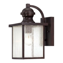 "Savoy House - Newberry 13-1/2""H Exterior Wall Lantern - Give Your Home Some Curb Appeal With Newbrerry, A Classic Outdoor Light With Seedy Glass And A Rich English Bronze Finish."