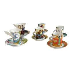 """Pre-owned Six Rosenthal China Espresso Cups. Brand New - Get caffeinated in style with this exuberant espresso cups! Brand new in boxes and each unique!    Pair dimensions: 3 1/2"""" high x 4 1/4"""" diameter  Set of four dimensions: 3"""" high x 4 1/4"""" diameter (with handle)"""